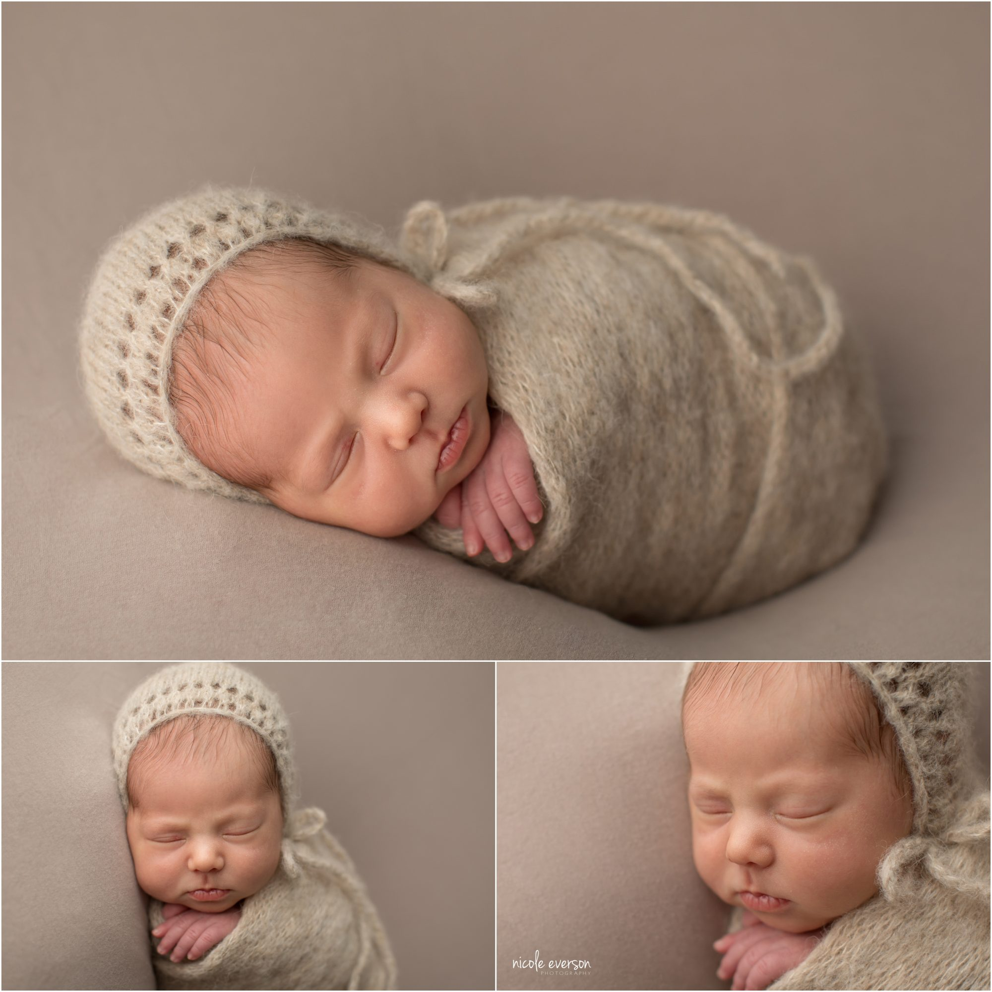 baby girl newborn picture swaddled in a oatmeal knit newborn photography wrap