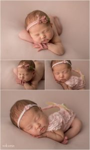 newborn pictures of a 10 day old newborn baby girl posed on a pink backdrop at Nicole Everson Photography
