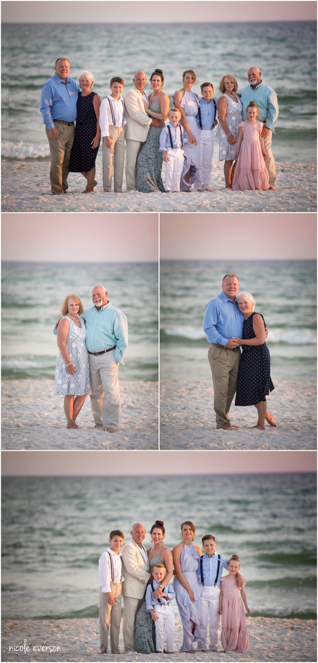 Rosemary Beach Pictures. Family in front of the ocean on Rosemary Beach. Nicole Everson Photography.