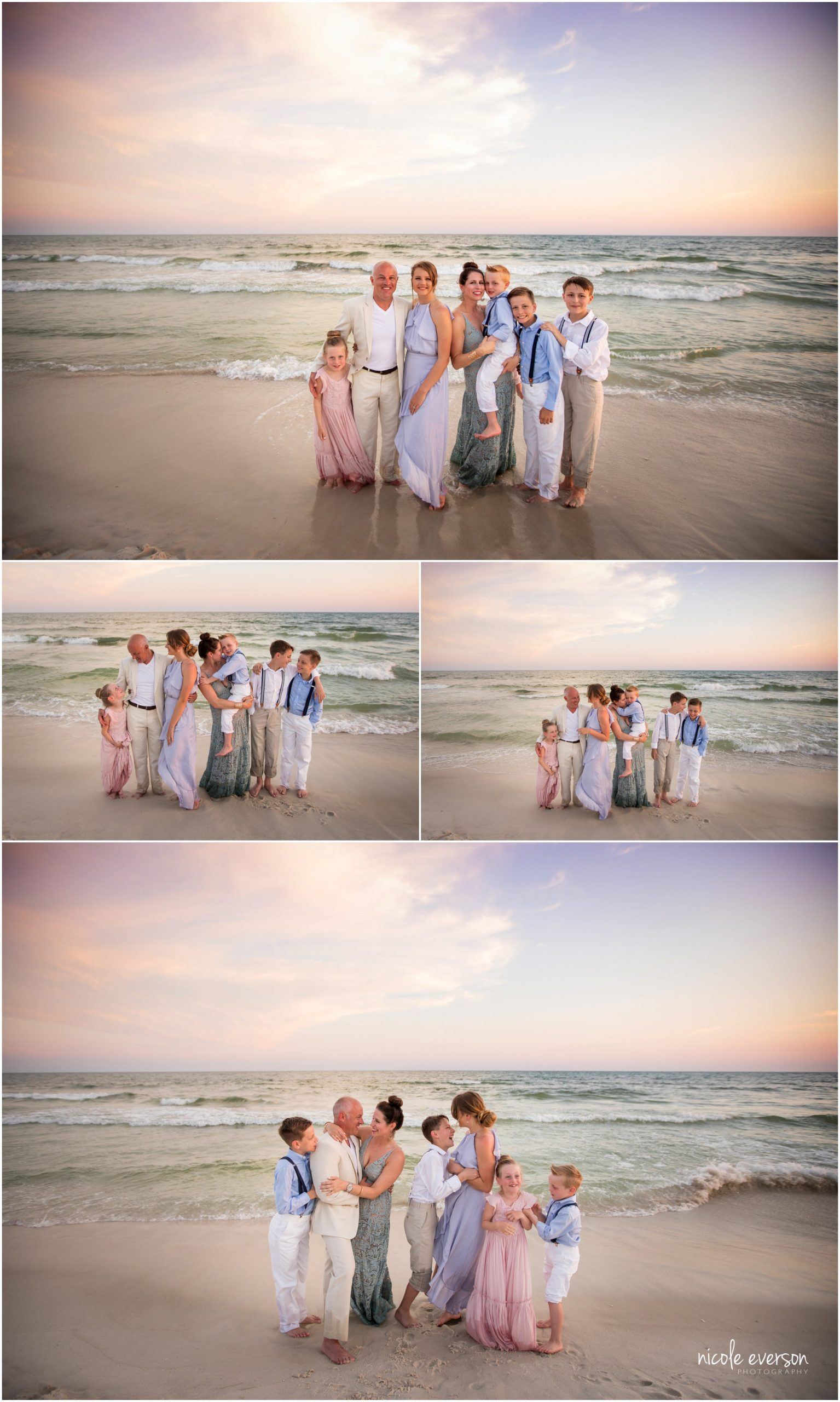 Rosemary Beach photographers near me. Rosemary Beach Pictures. Laughing family in front of the ocean on Rosemary Beach. Nicole Everson Photography.