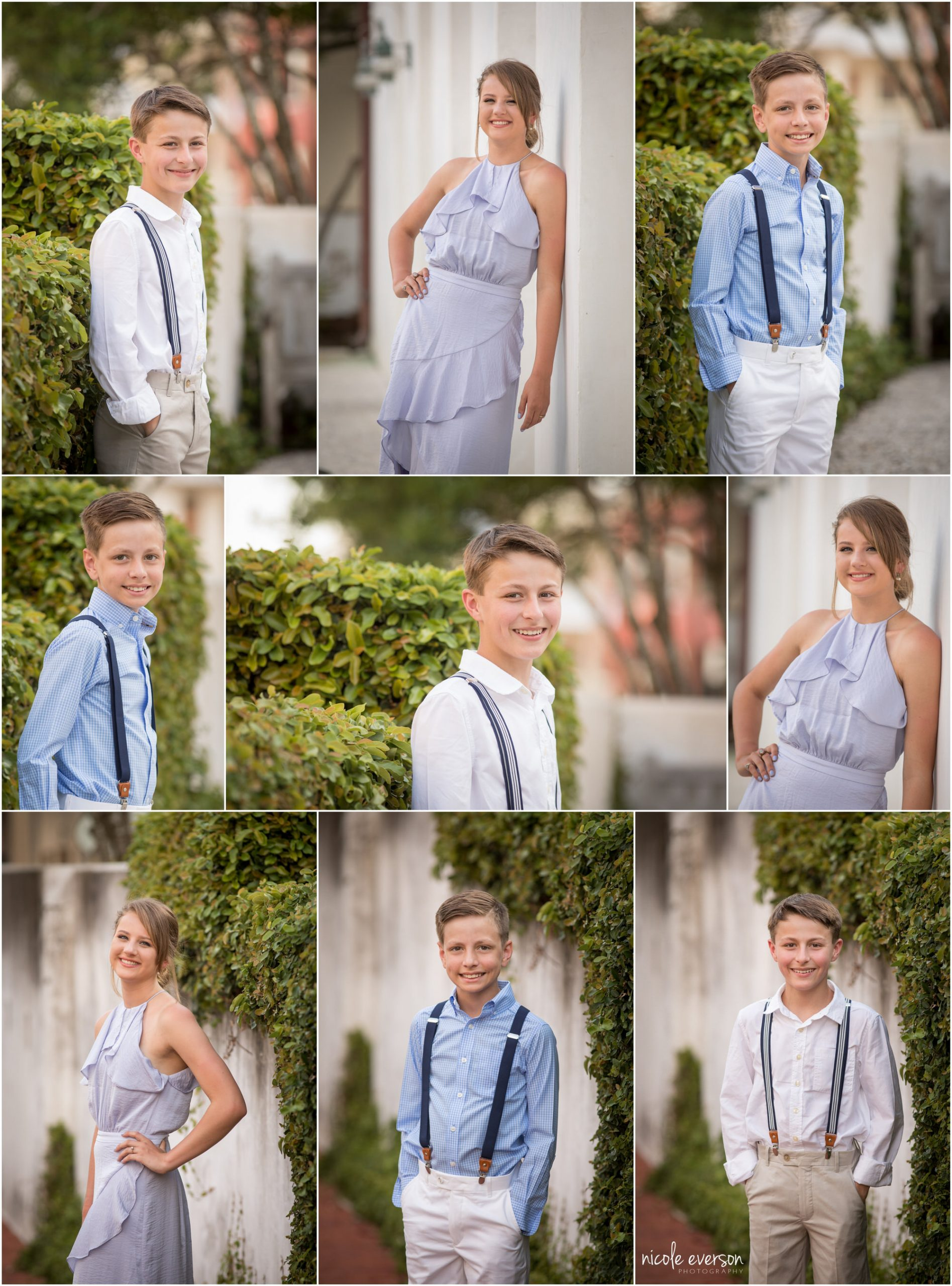 Individual sibling photographs, Rosemary Beach. Nicole Everson Photography.