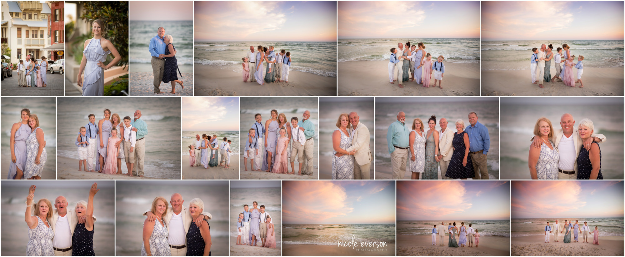 Collage of family beach pictures. Rosemary Beach family photographer. Nicole Everson Photography.