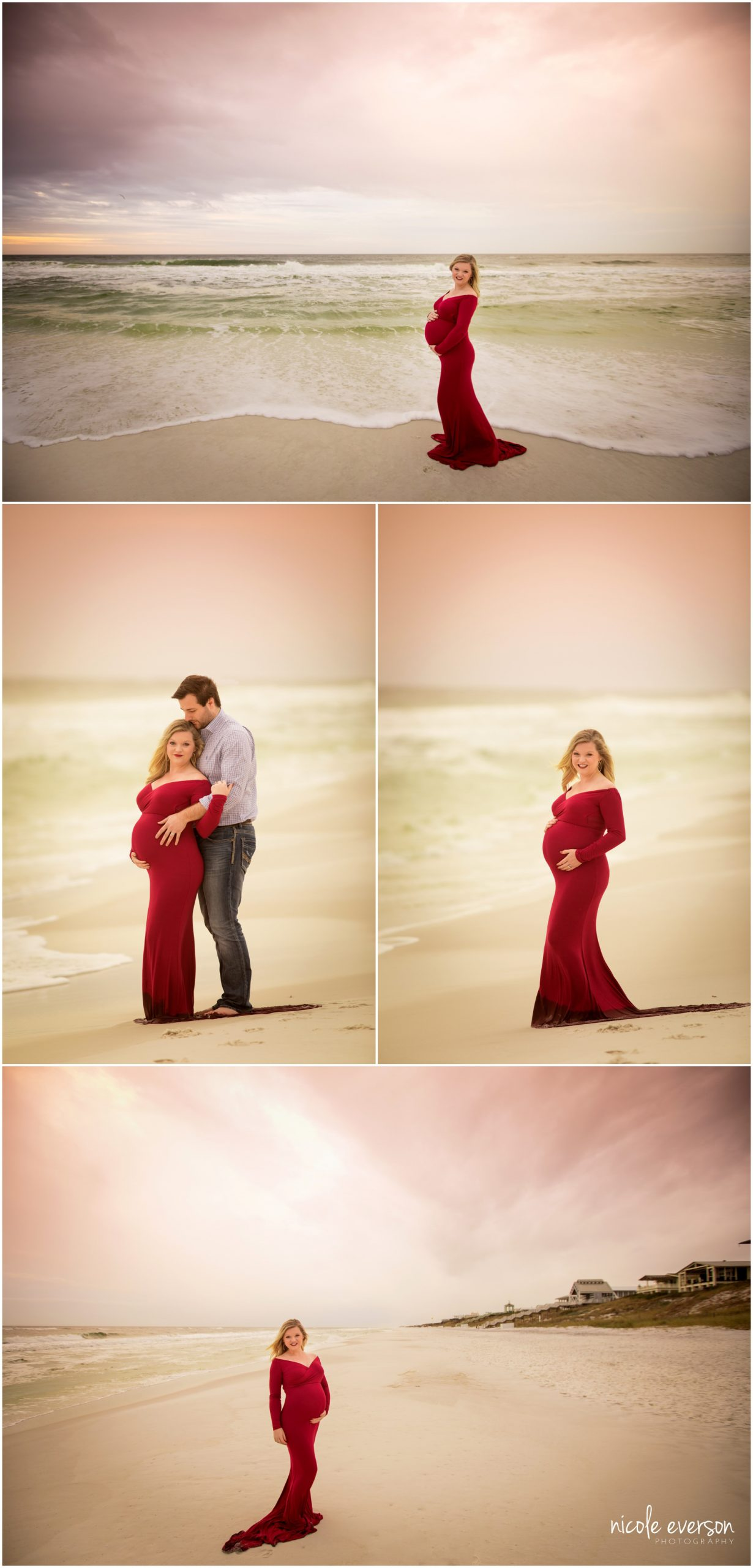 seaside maternity photos in a red maternity gown