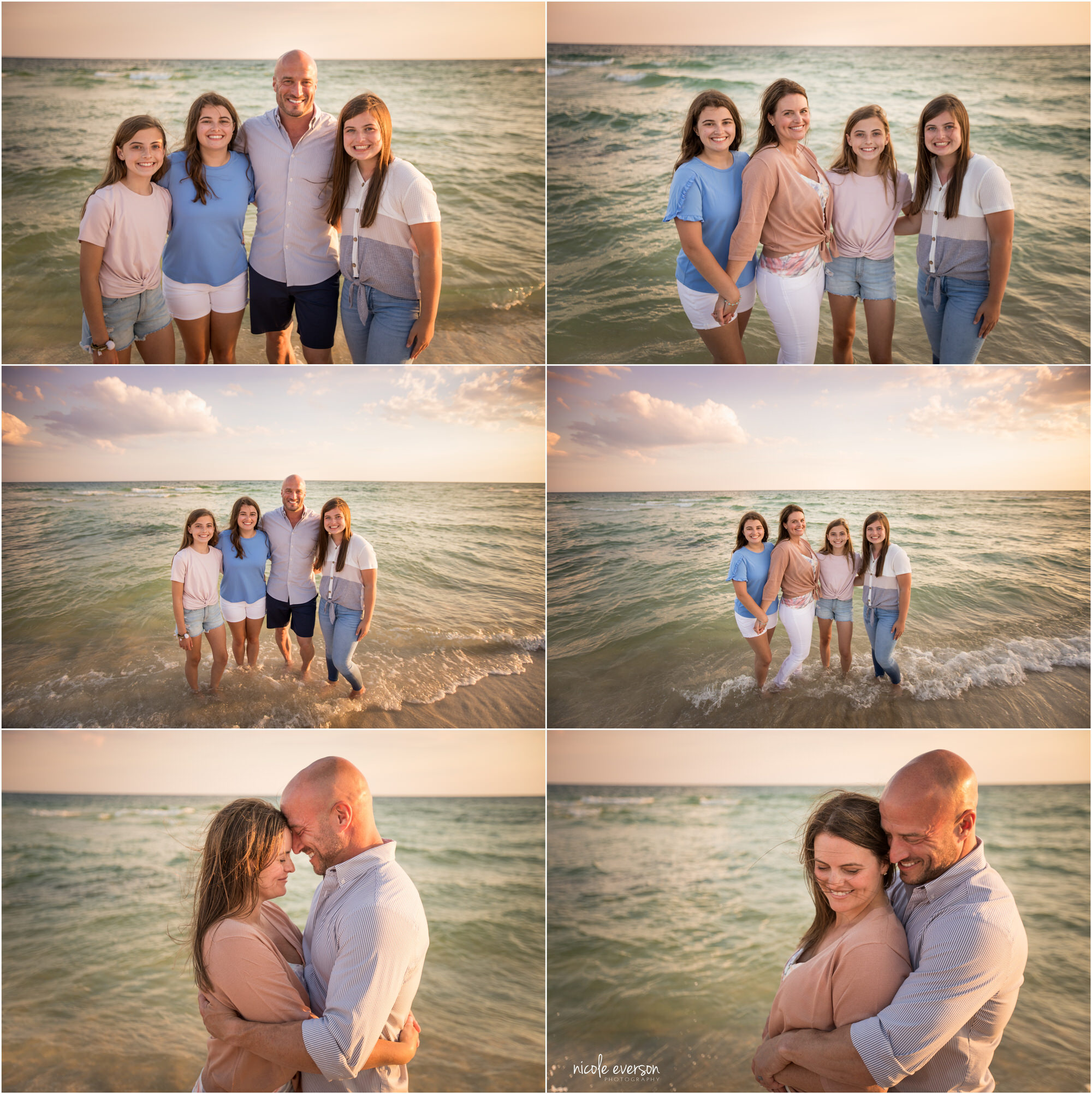 Sunset beach photos on 30a. Loving family posing in front of the ocean in Rosemary Beach. Nicole Everson Photography.