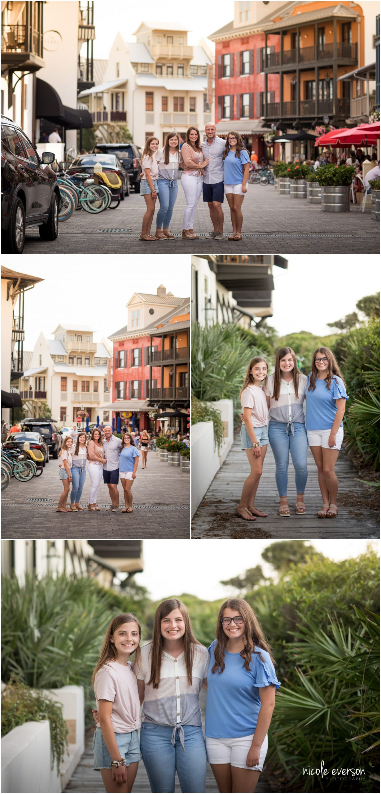 Family photos downtown Rosemary Beach. Nicole Everson Photography.