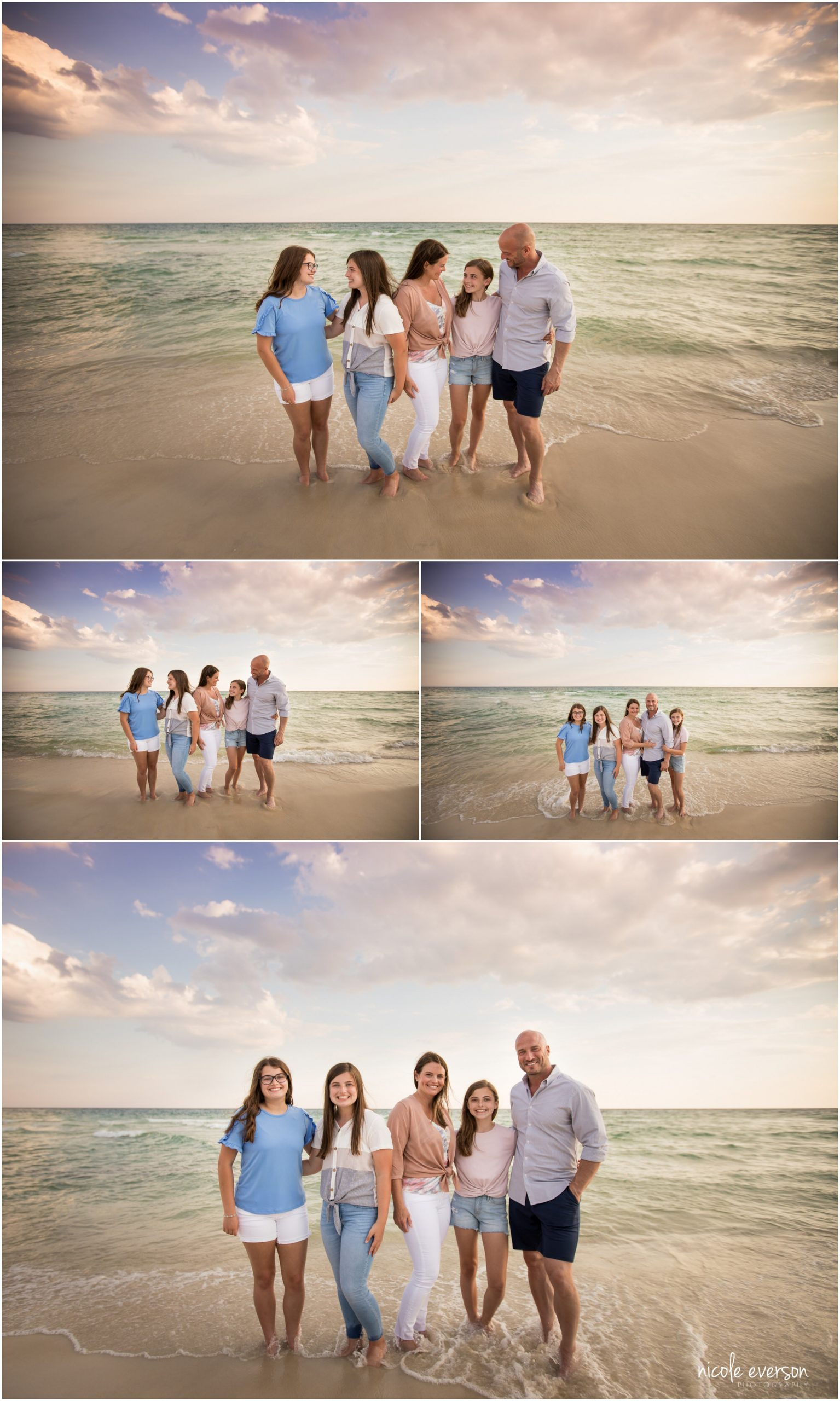 Laughing family on the beach. Rosemary Beach photographs. Nicole Everson Photography.