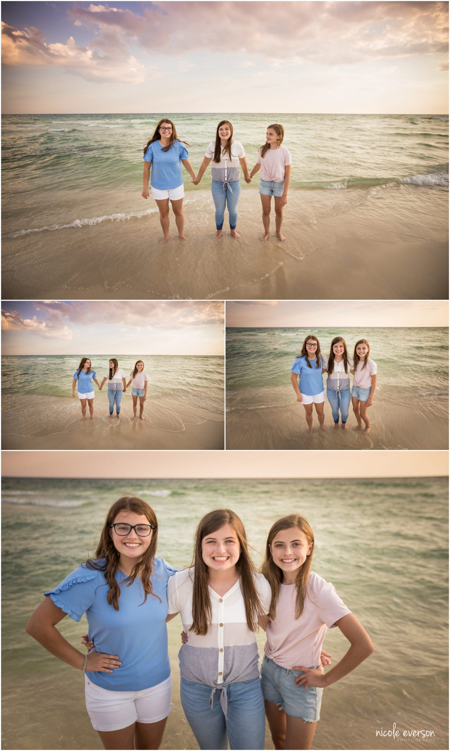 Photos of sisters on Rosemary Beach. Nicole Everson Photography.