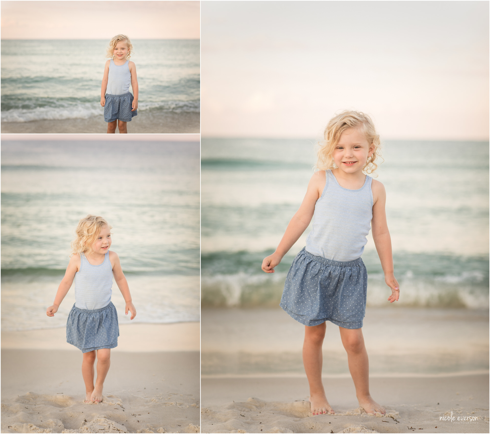 little girl playing on rosemary beach