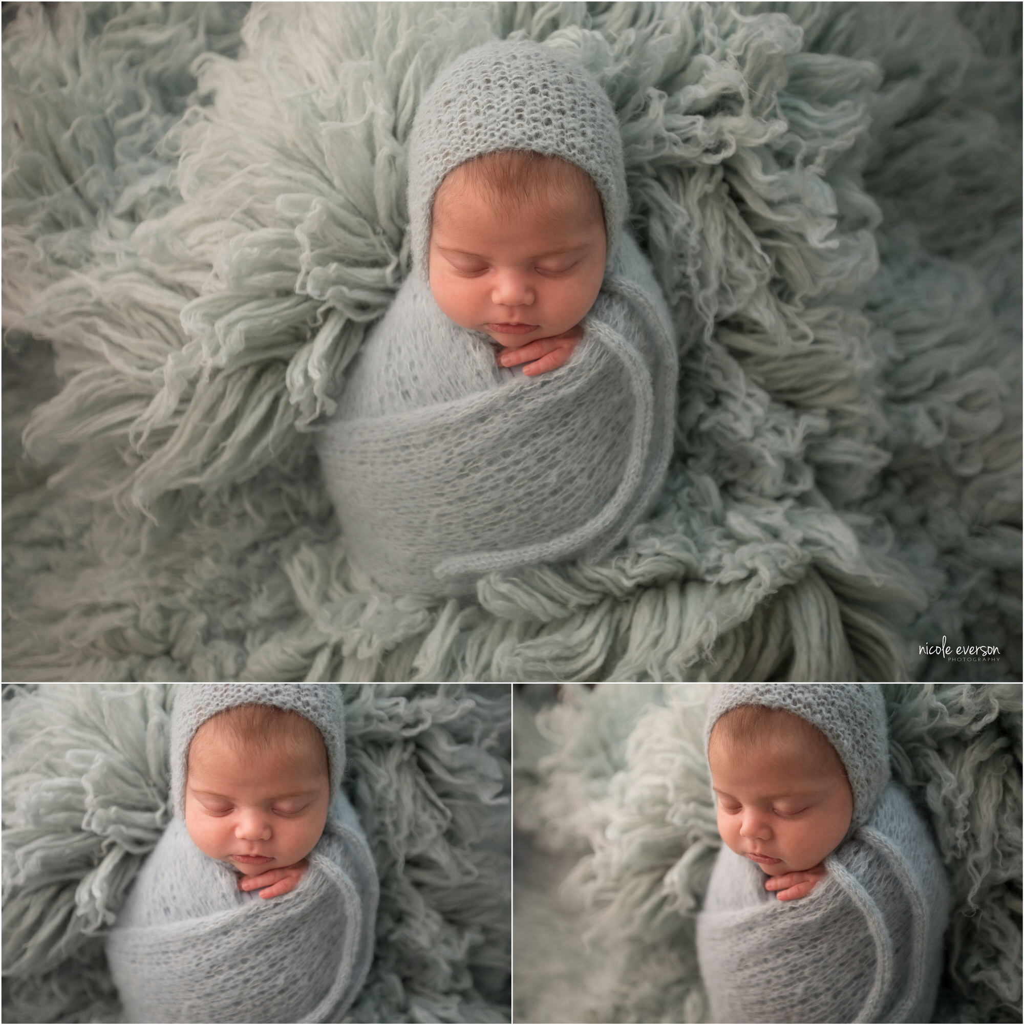 newborn photos sleeping wrapped on a blue knit wrap on a light blue fur