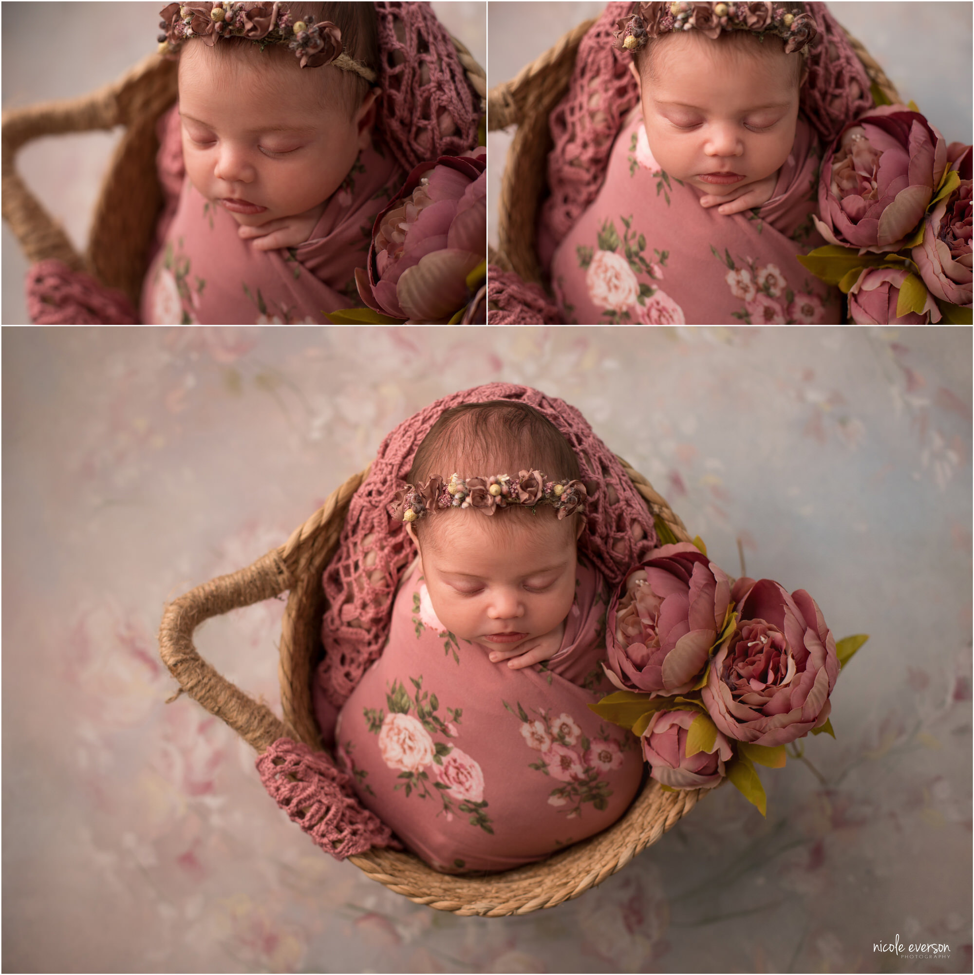 photos of a newborn girl 1 week old sleeping in a basket wrapped in a pink floral photography prop