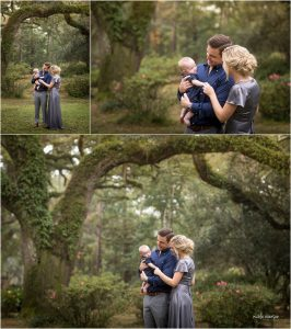 family photographed under oak trees with Spanish moss in Santa Rosa beach Florida