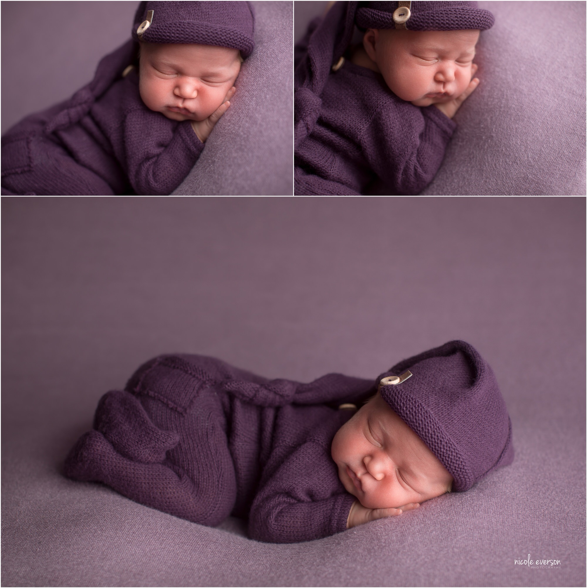 pictures of a sleeping newborn baby girl wearing a purple knit photography prop on a lavender photography backdrop during her newborn photos