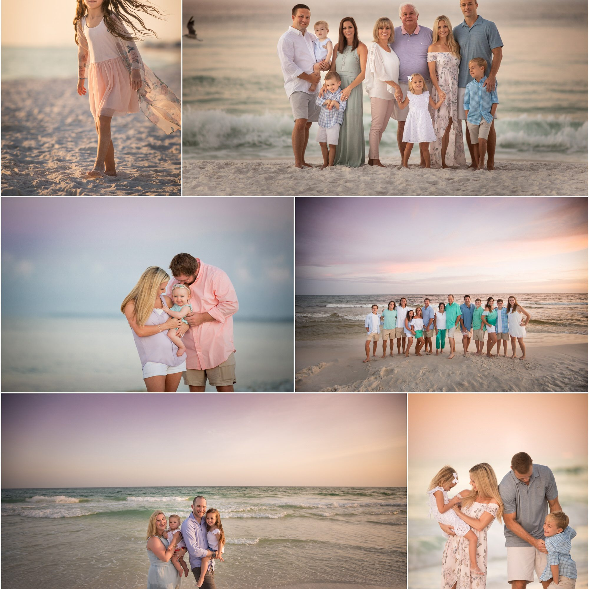 collection of family photos taken on the beach in watercolor Florida